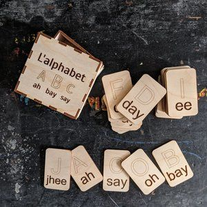 French Wooden Alphabet Tiles NWT